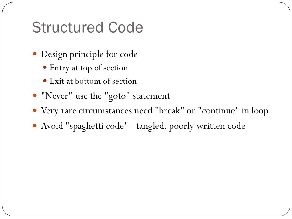 Structured Code Design principle for code