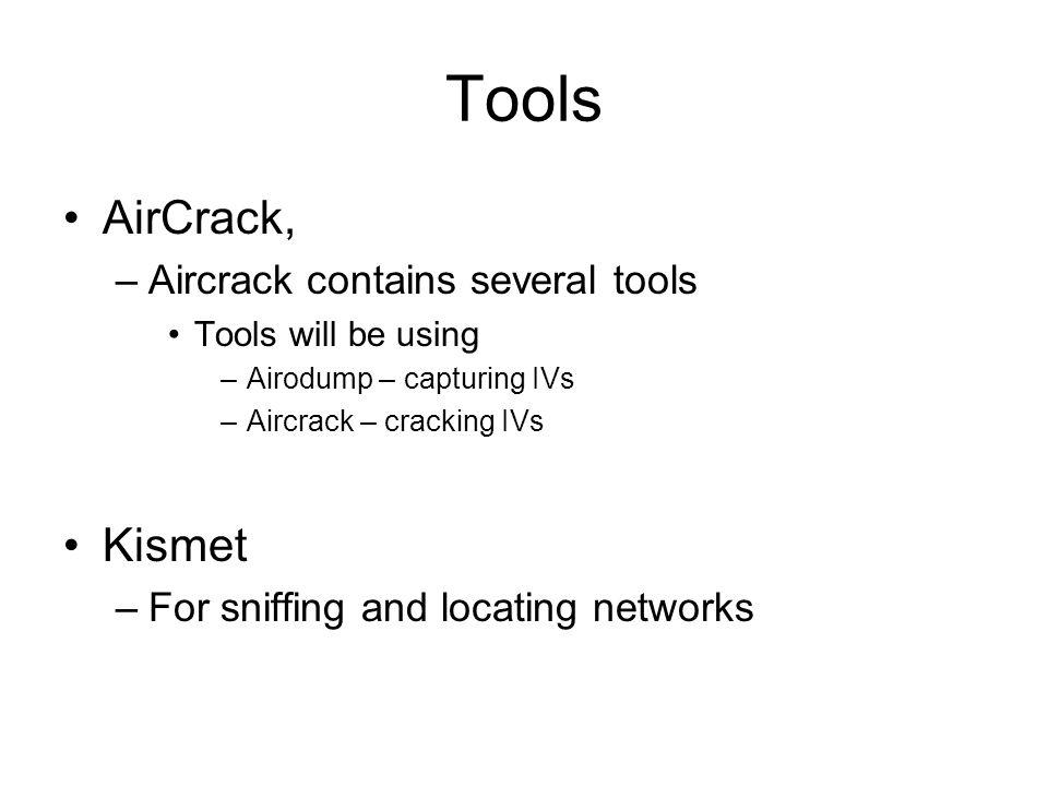 Tools AirCrack, Kismet Aircrack contains several tools