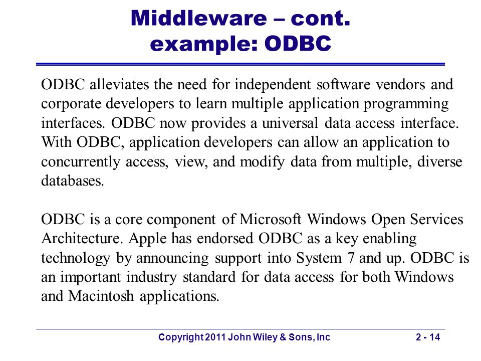 Middleware – cont. example: ODBC