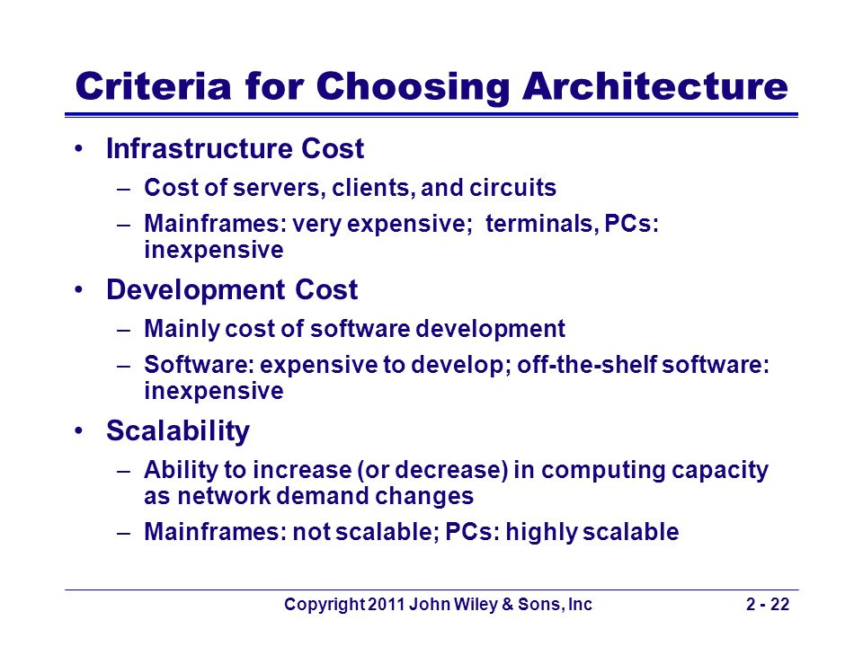 Criteria for Choosing Architecture