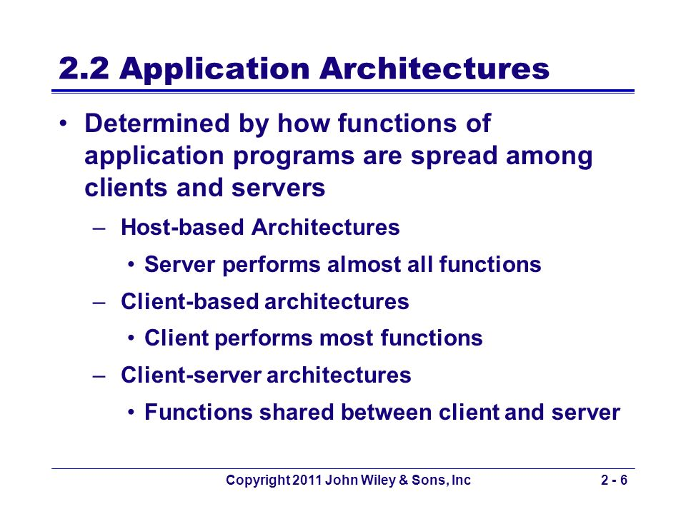 2.2 Application Architectures