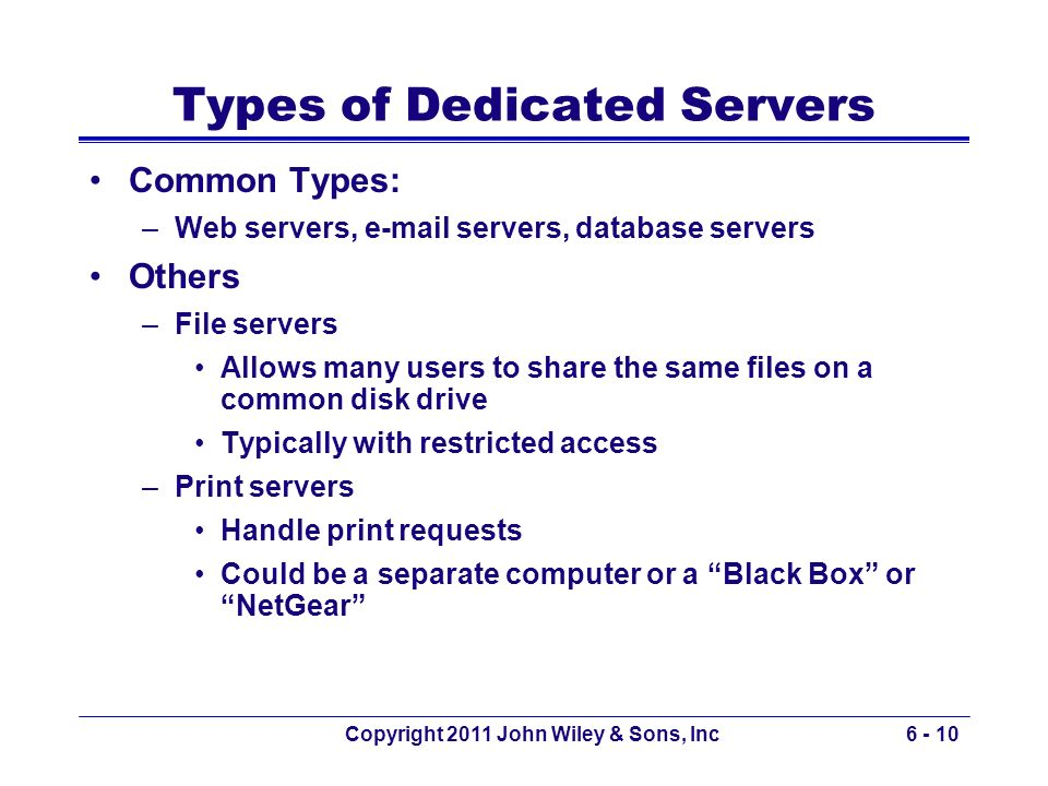 Types of Dedicated Servers
