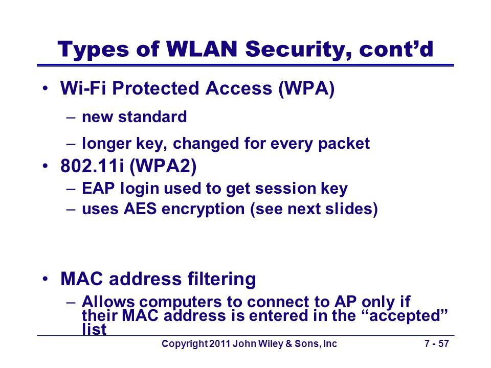 Types of WLAN Security, cont'd