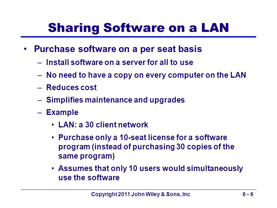 Sharing Software on a LAN