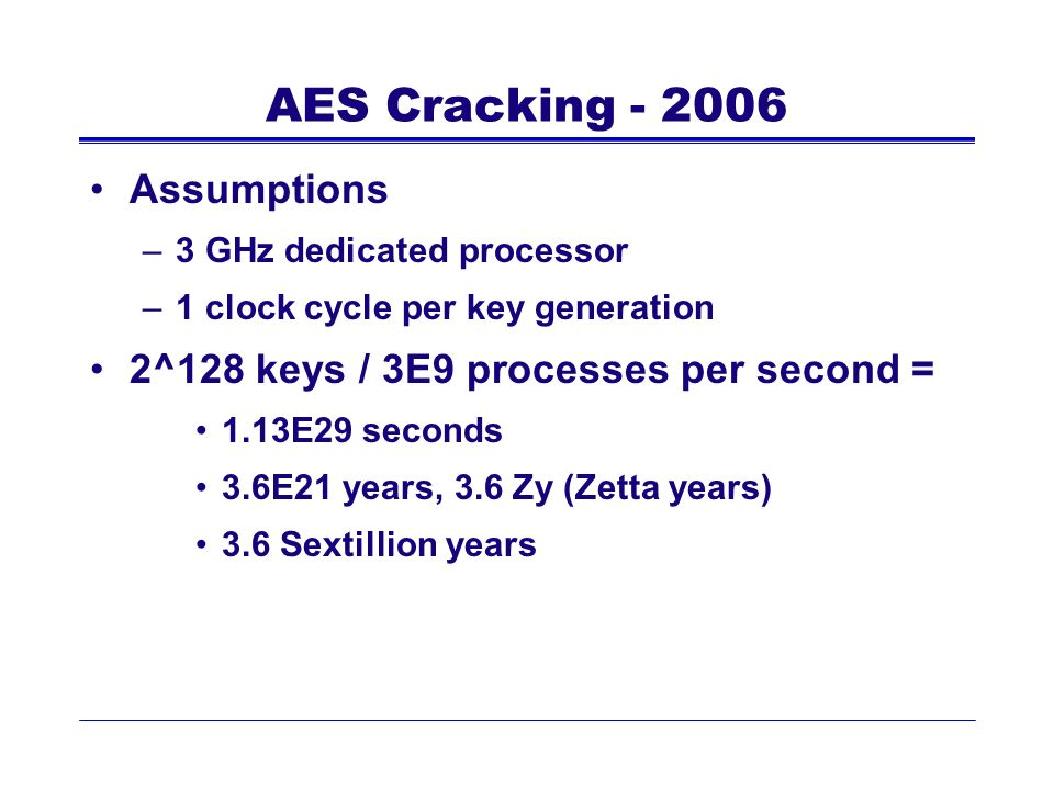 AES Cracking - 2006 Assumptions
