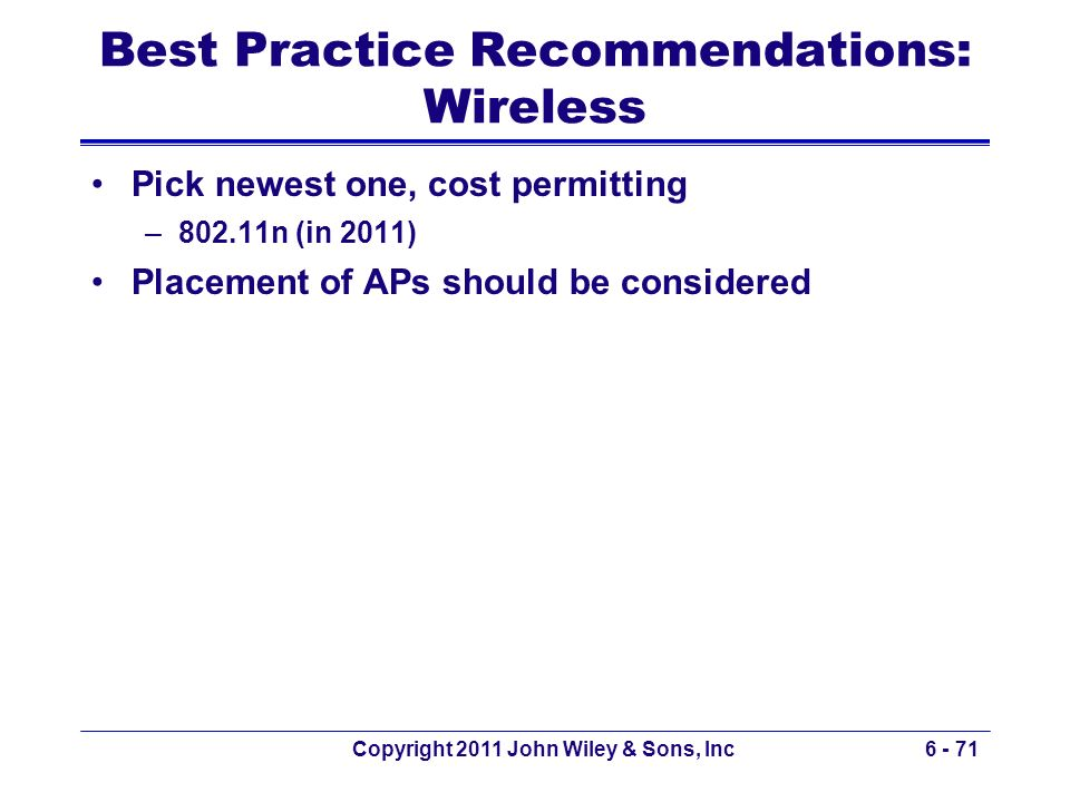 Best Practice Recommendations: Wireless