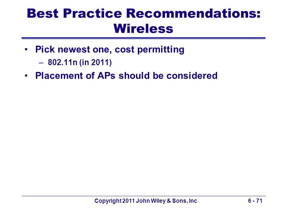Best Practice Recommendations: Wireless