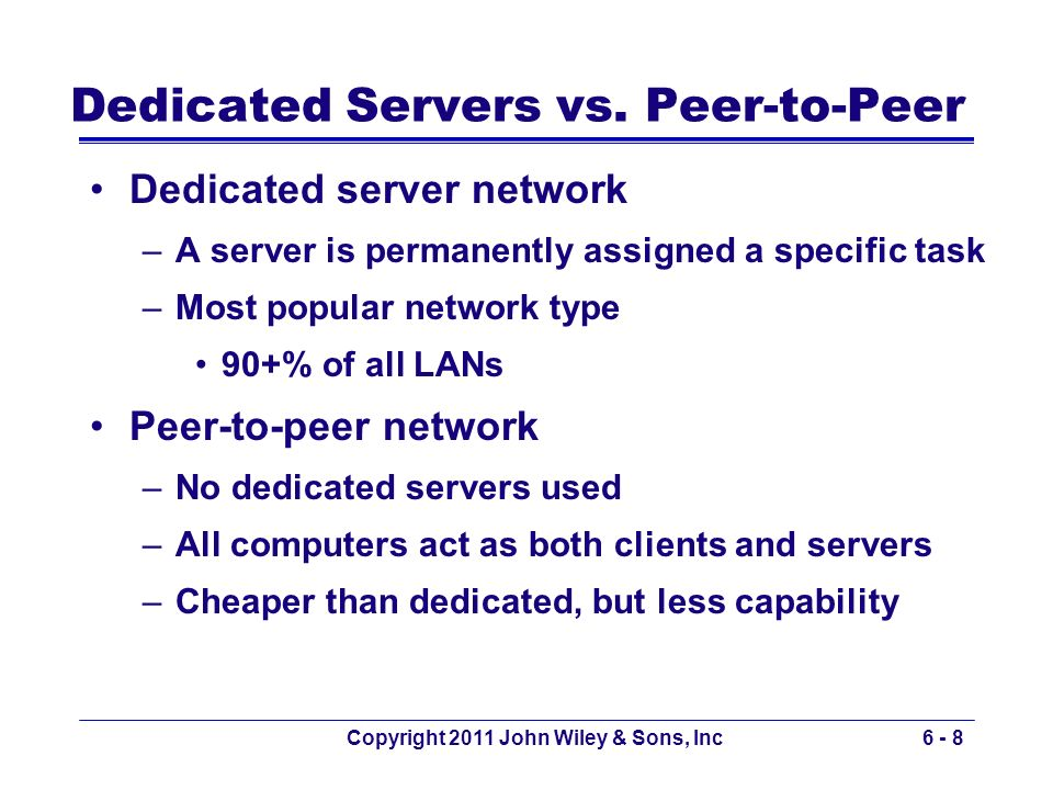 Dedicated Servers vs. Peer-to-Peer