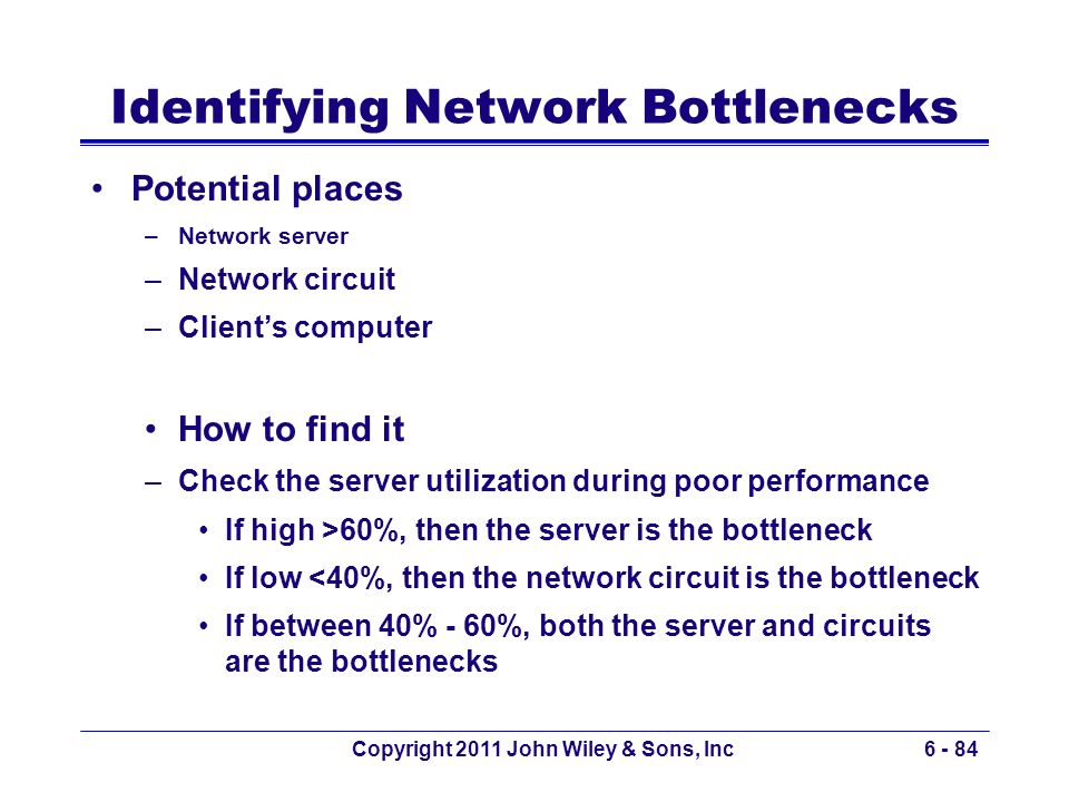 Identifying Network Bottlenecks