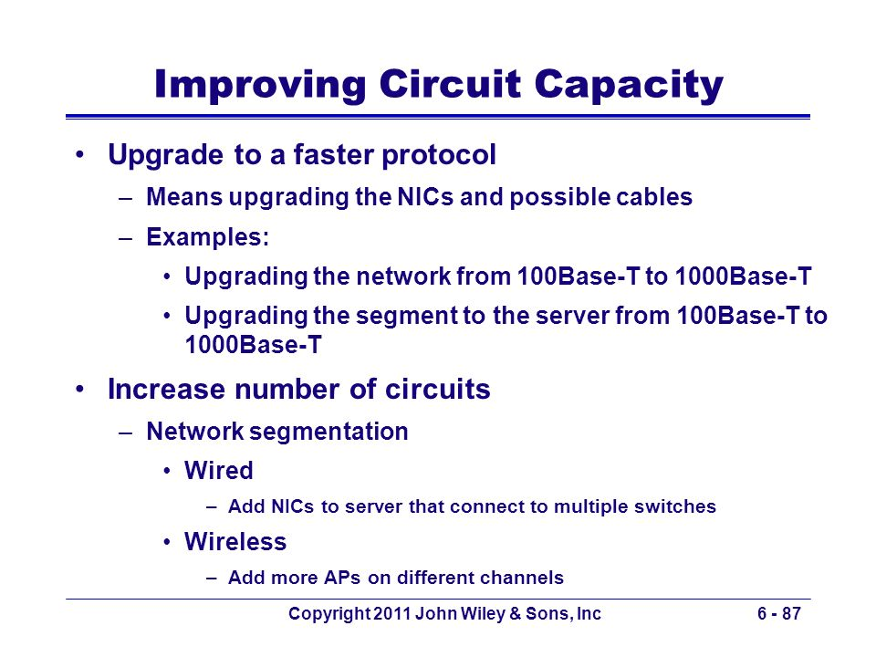 Improving Circuit Capacity
