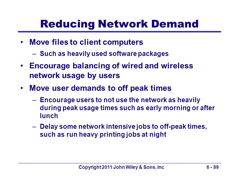 Reducing Network Demand