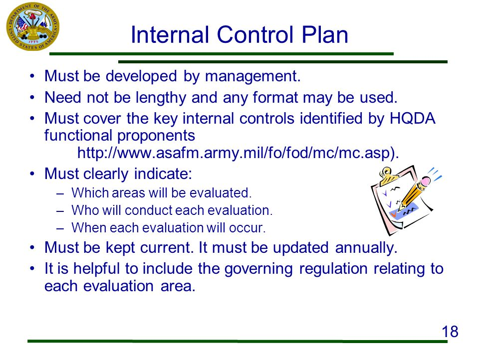 Internal Control Plan Must be developed by management.