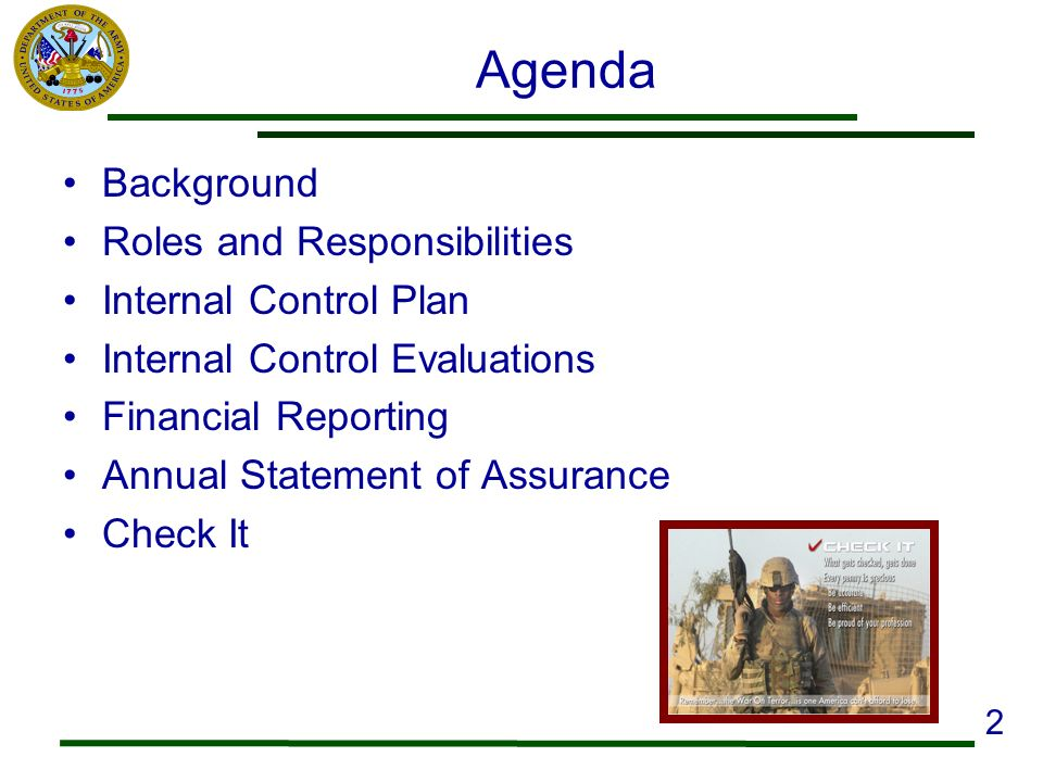 Agenda Background Roles and Responsibilities Internal Control Plan