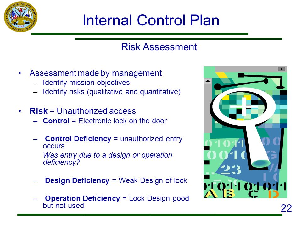 Internal Control Plan Risk Assessment 22 Assessment made by management