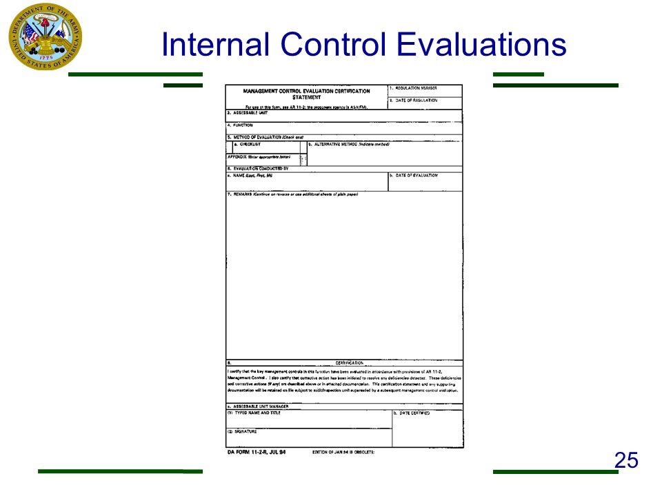 Internal Control Evaluations