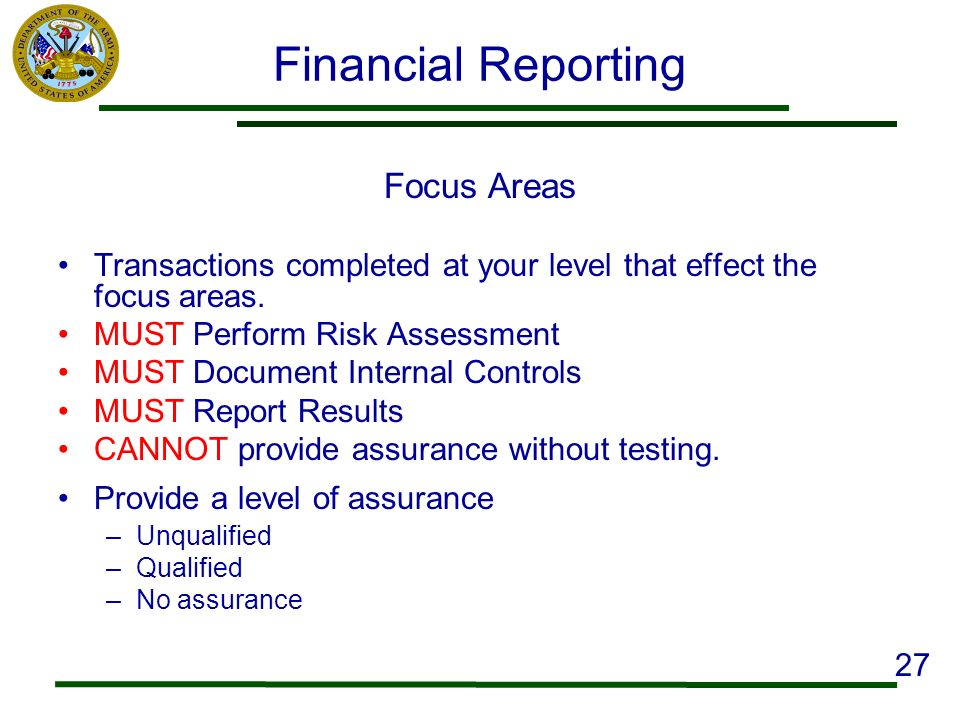 Financial Reporting Focus Areas