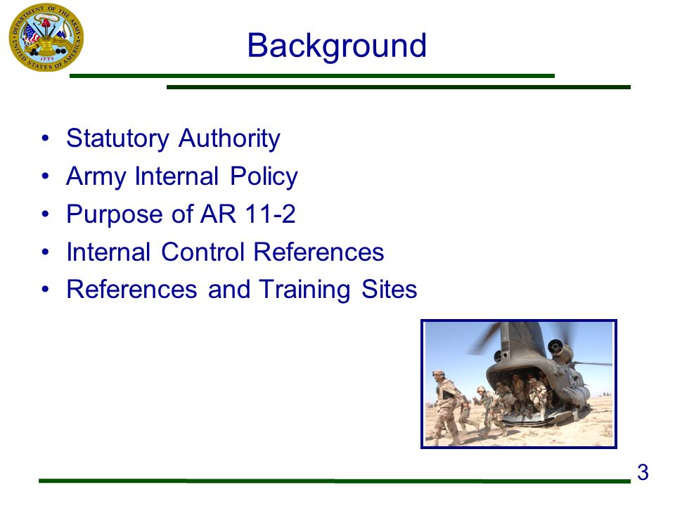 Background Statutory Authority Army Internal Policy Purpose of AR 11-2
