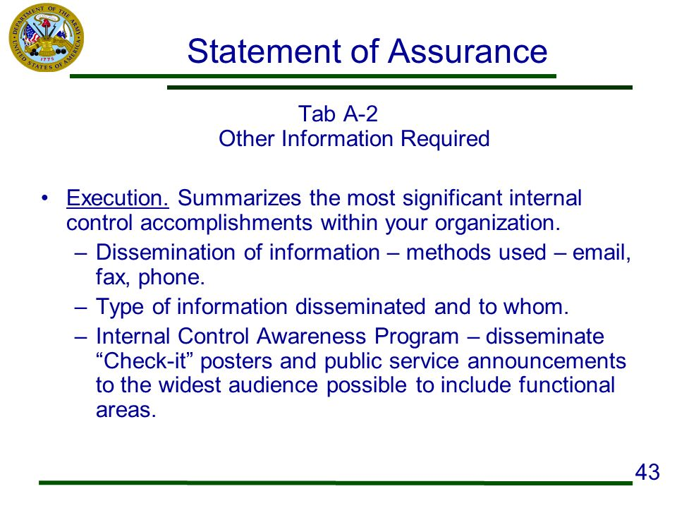 Statement of Assurance