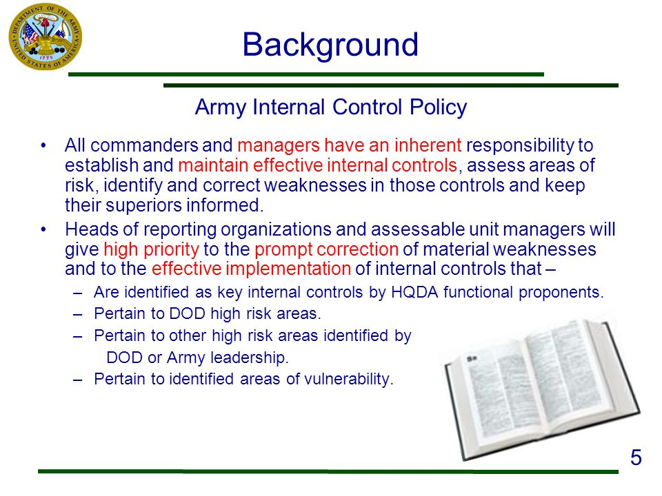 Army Internal Control Policy