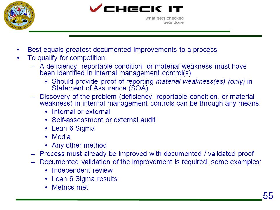 55 Best equals greatest documented improvements to a process
