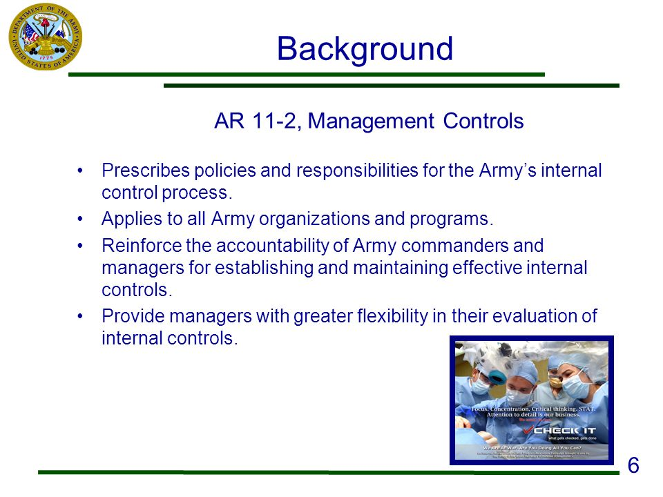 AR 11-2, Management Controls