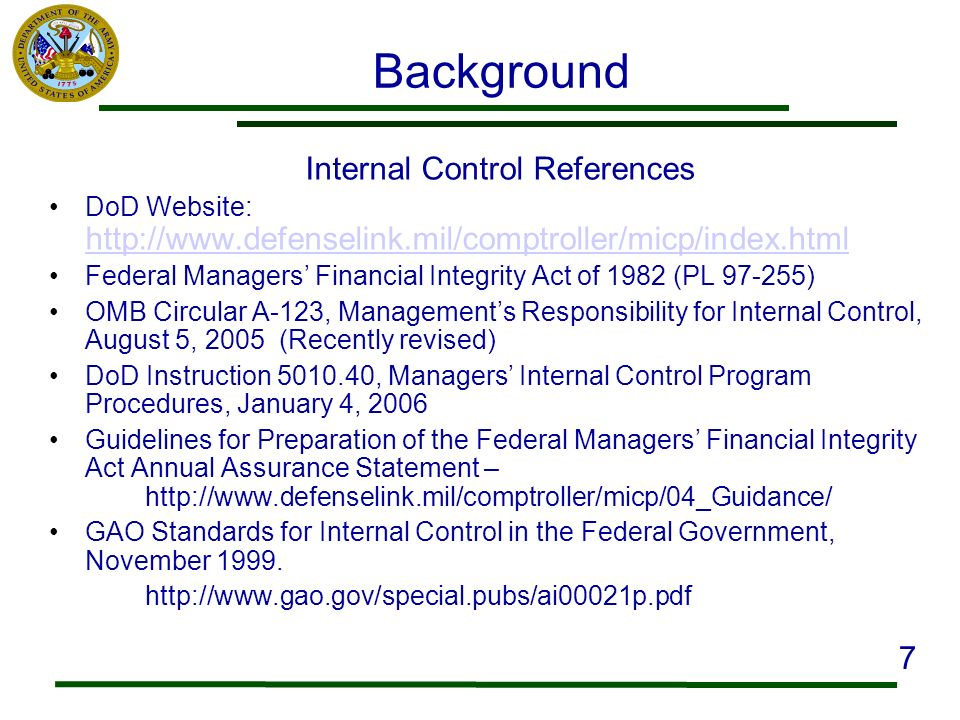 Internal Control References