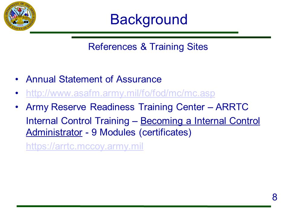 References & Training Sites