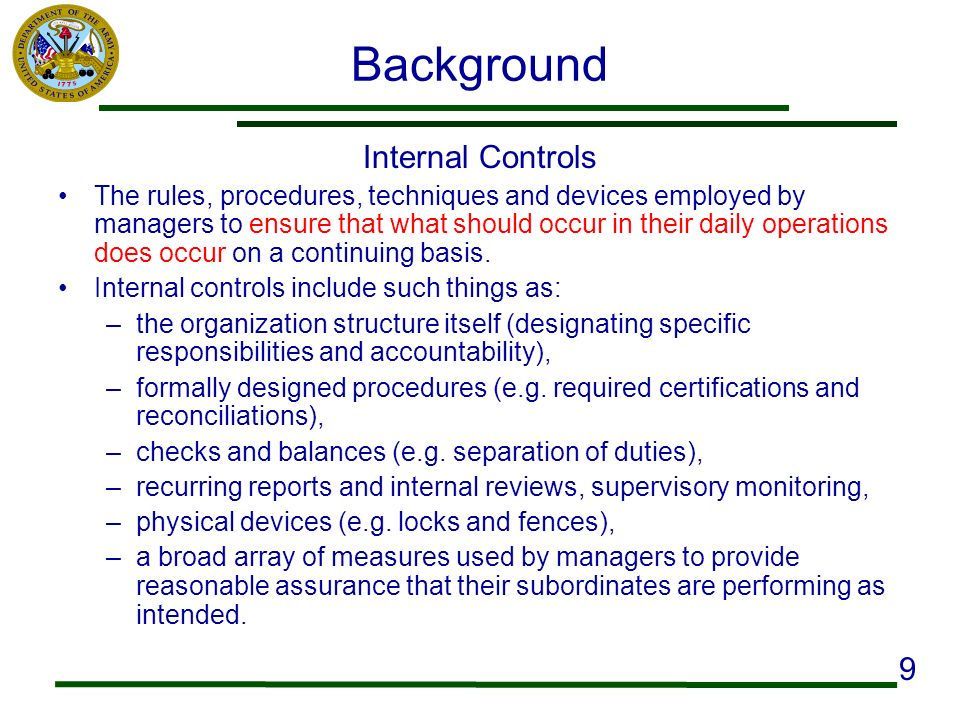Background Internal Controls 9