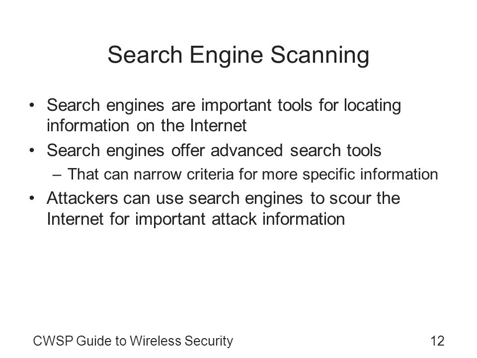Search Engine Scanning