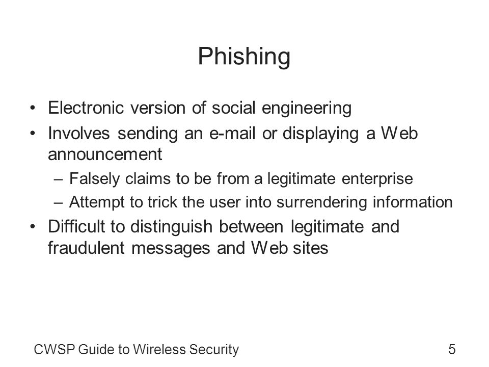 Phishing Electronic version of social engineering