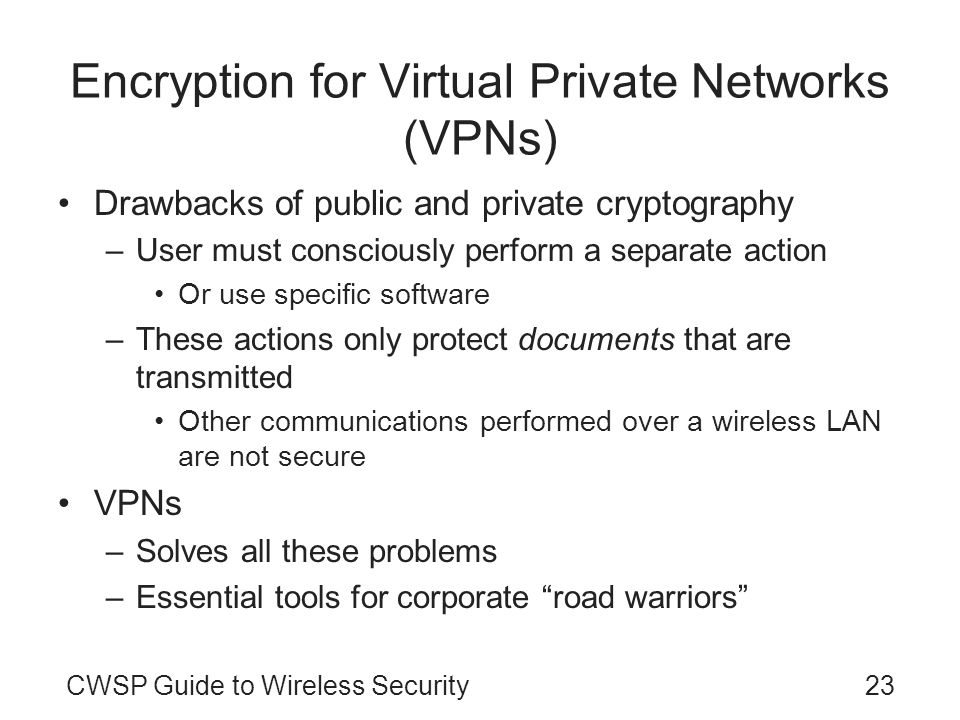 Encryption for Virtual Private Networks (VPNs)