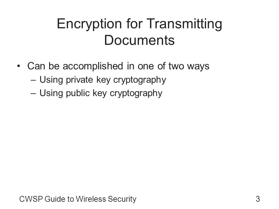 Encryption for Transmitting Documents