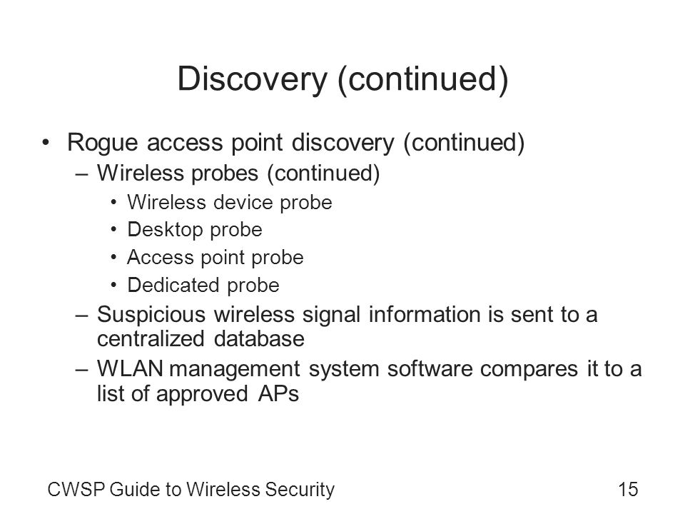 Discovery (continued)