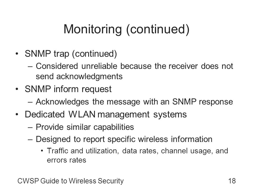 Monitoring (continued)