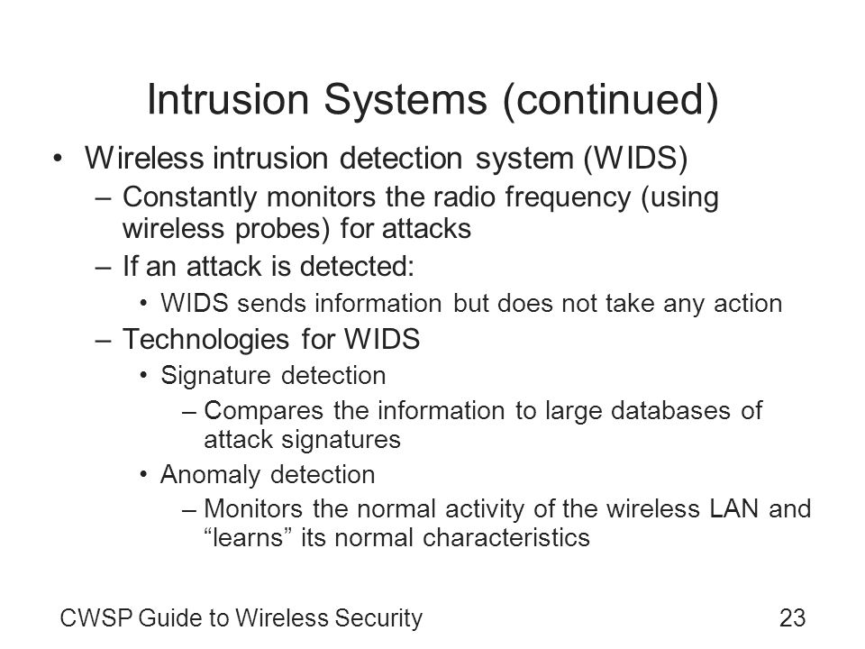 Intrusion Systems (continued)