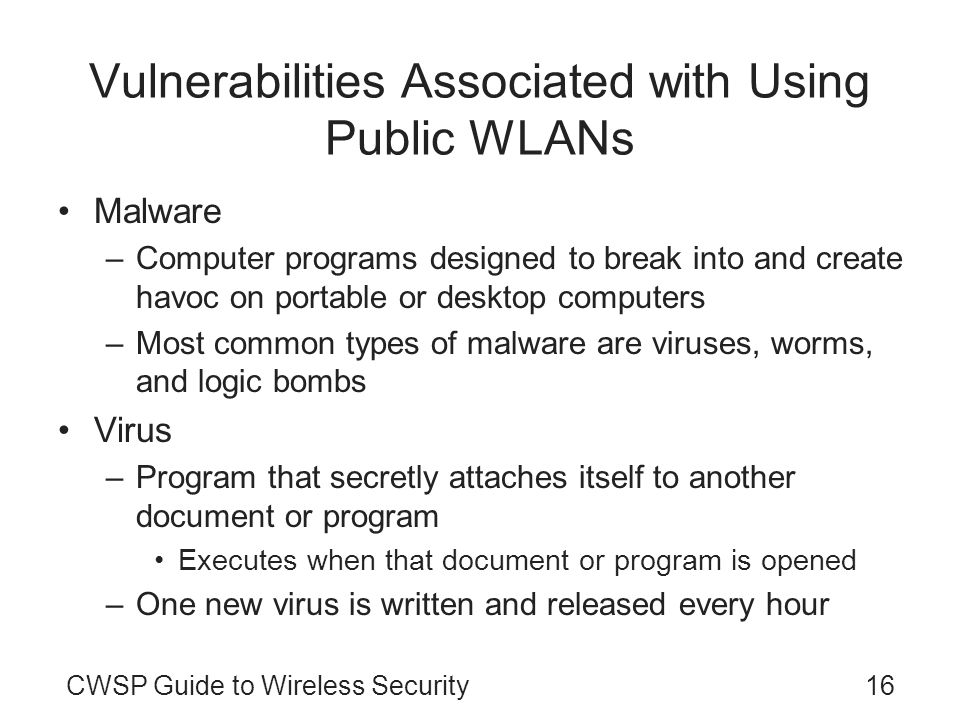 Vulnerabilities Associated with Using Public WLANs