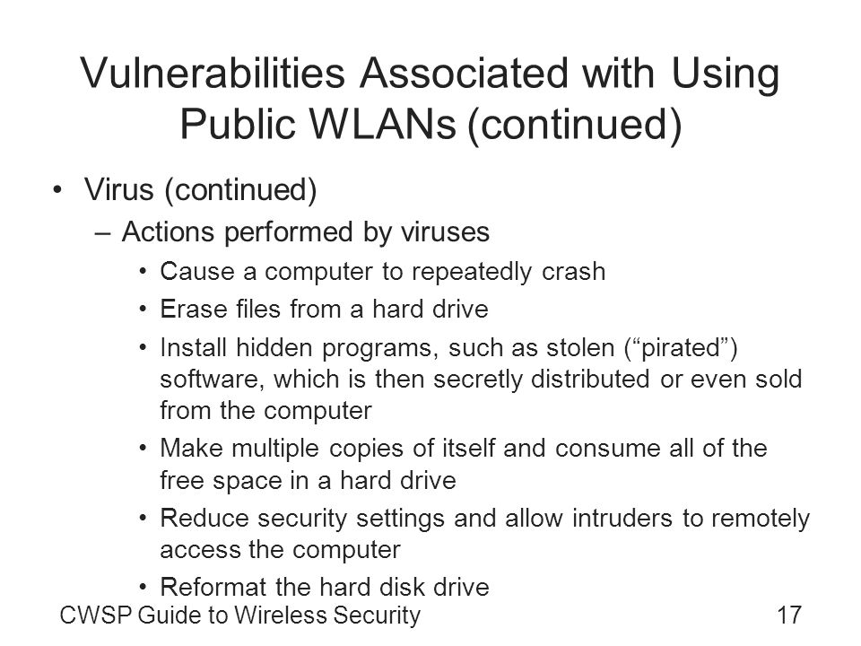 Vulnerabilities Associated with Using Public WLANs (continued)