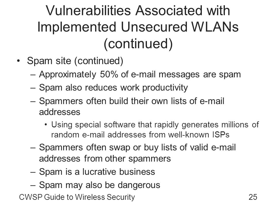 Vulnerabilities Associated with Implemented Unsecured WLANs (continued)