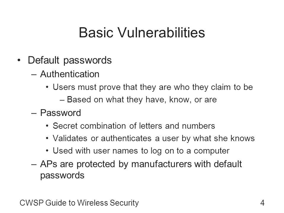 Basic Vulnerabilities