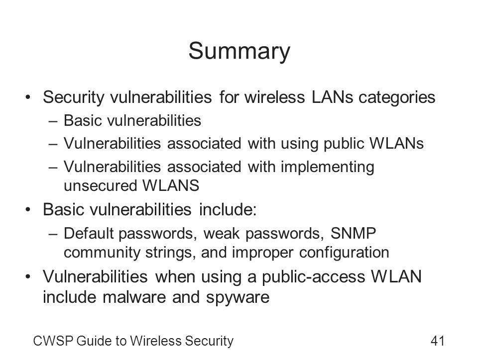 Summary Security vulnerabilities for wireless LANs categories