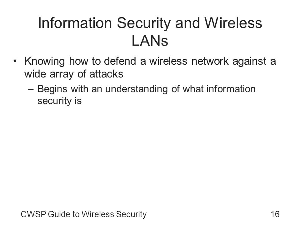 Information Security and Wireless LANs