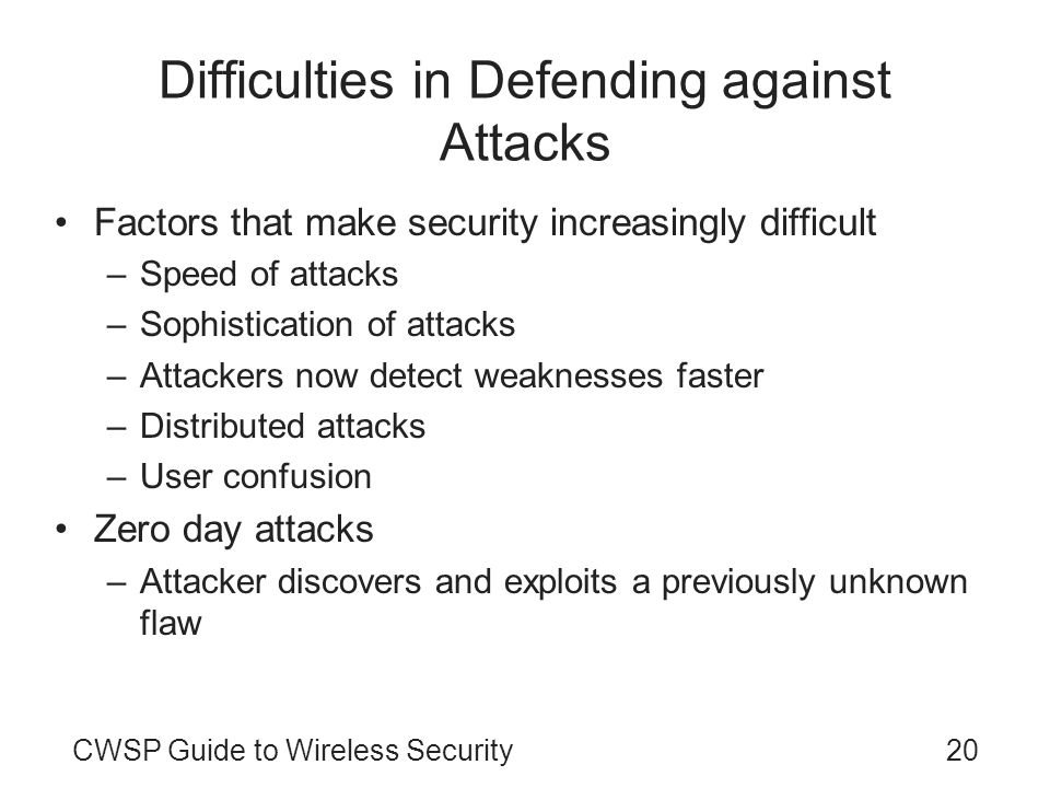 Difficulties in Defending against Attacks