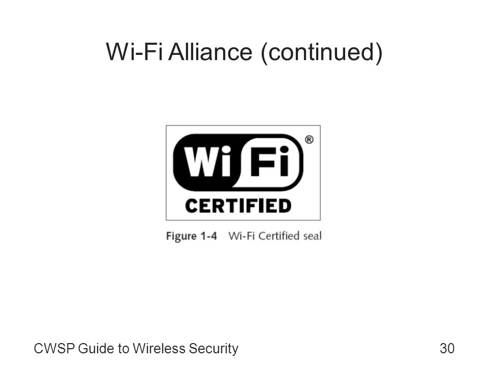 Wi-Fi Alliance (continued)