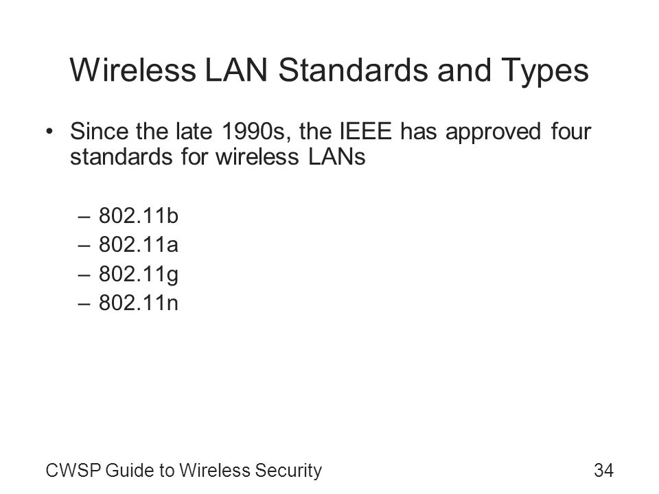 Wireless LAN Standards and Types