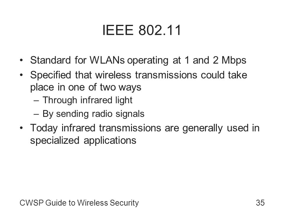 IEEE 802.11 Standard for WLANs operating at 1 and 2 Mbps