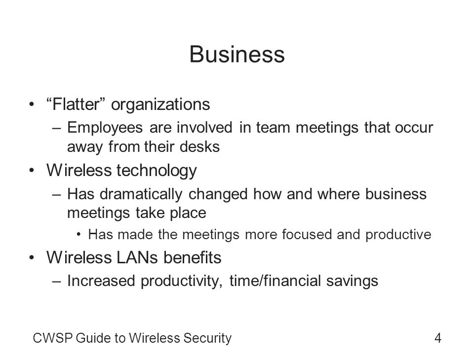 Business Flatter organizations Wireless technology