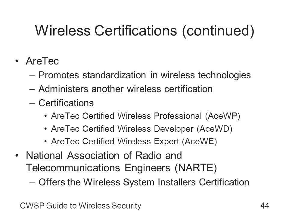 Wireless Certifications (continued)