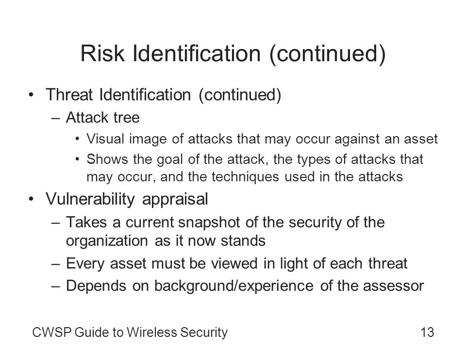 Risk Identification (continued)