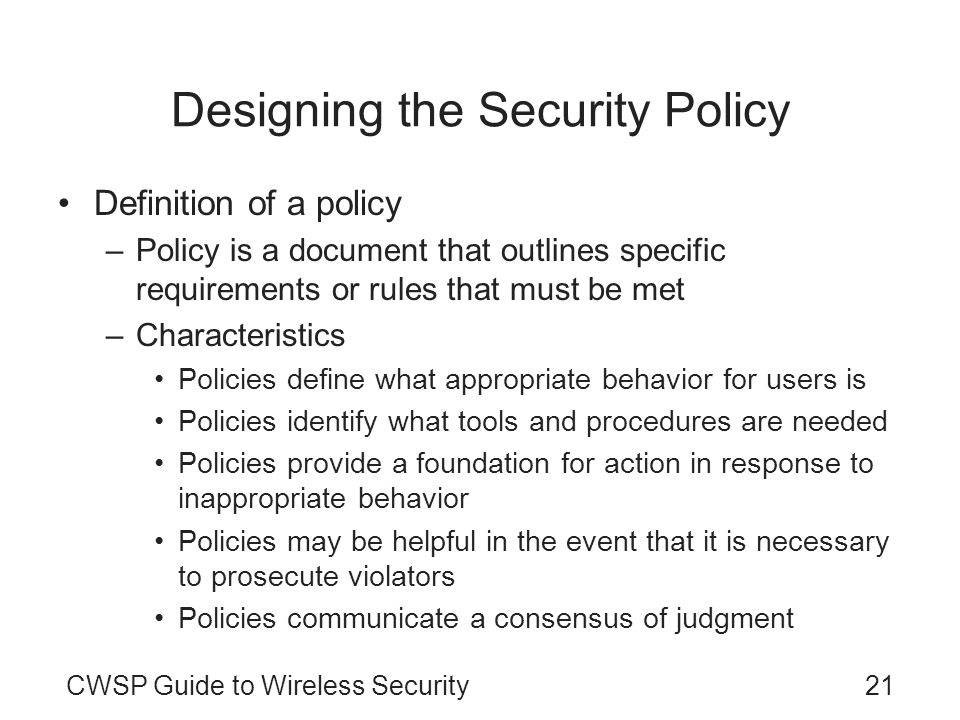 Designing the Security Policy