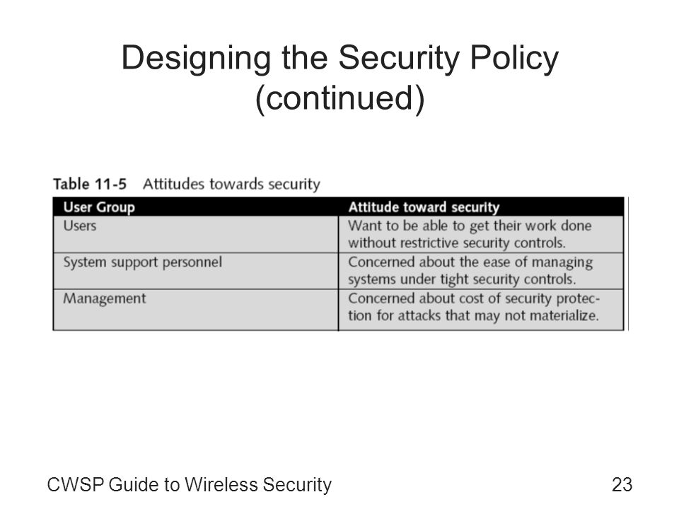 Designing the Security Policy (continued)